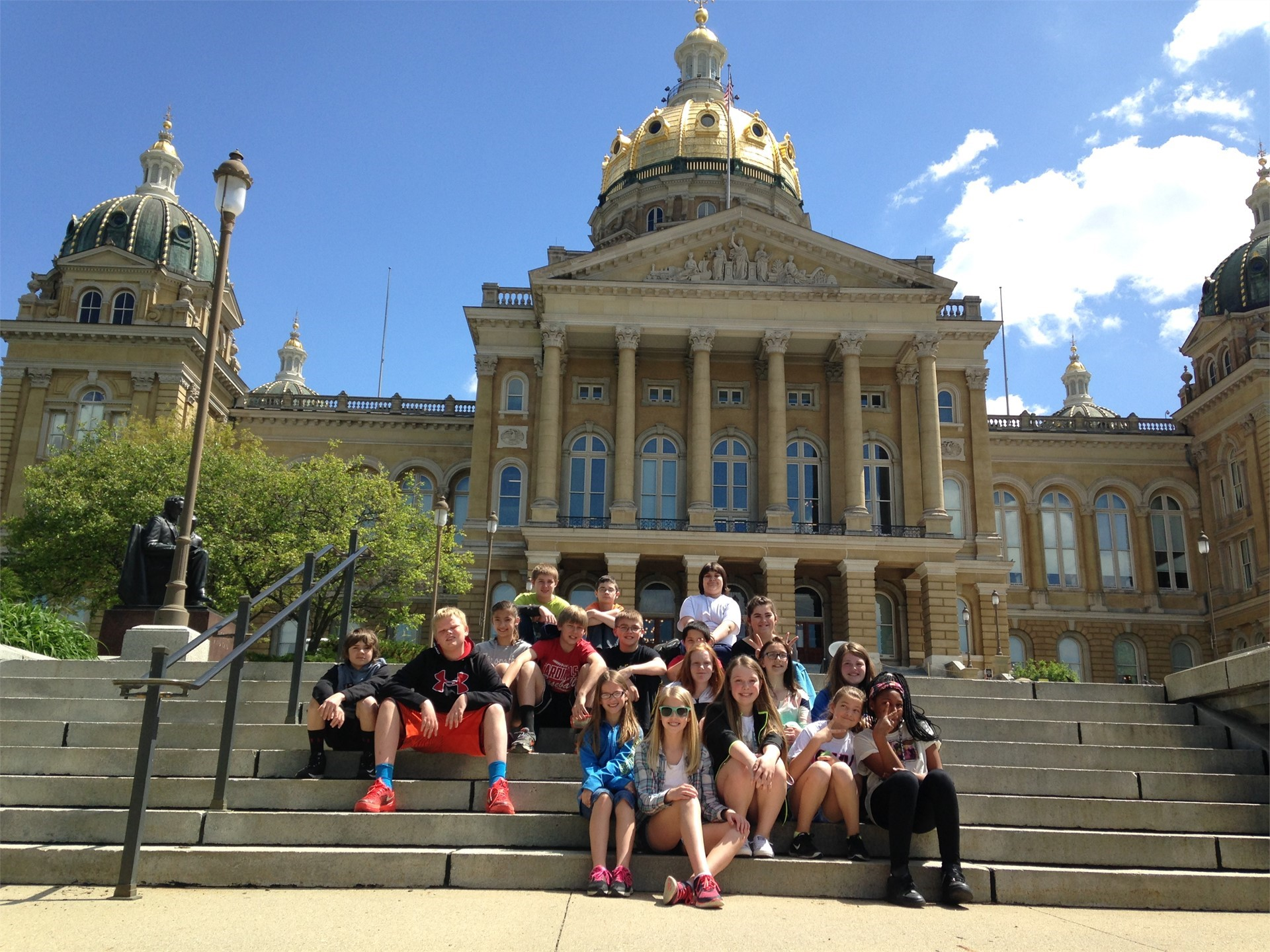 Group of students on steps at Iowa's Capitol Building
