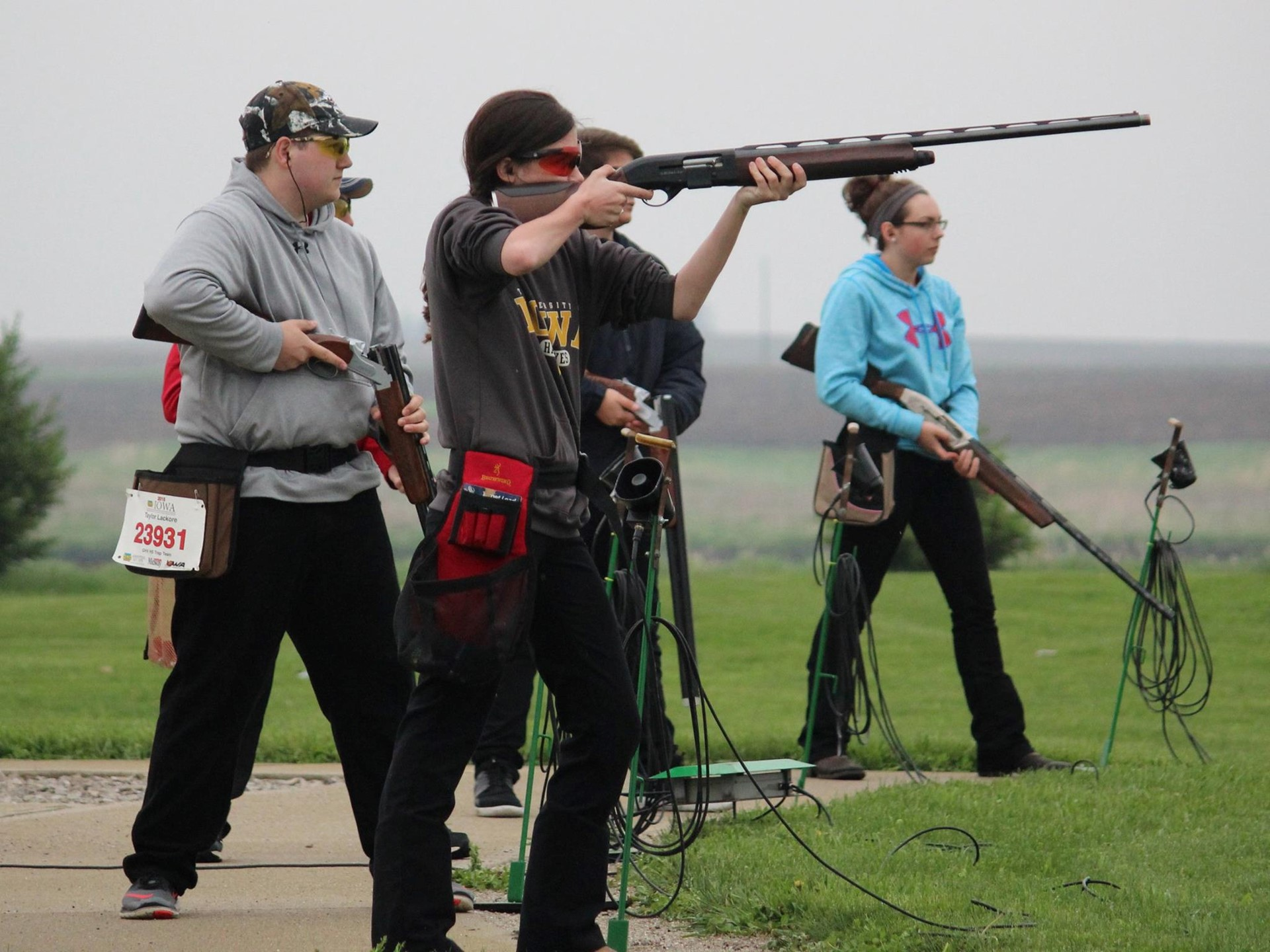HIgh school students practicing trap shooting
