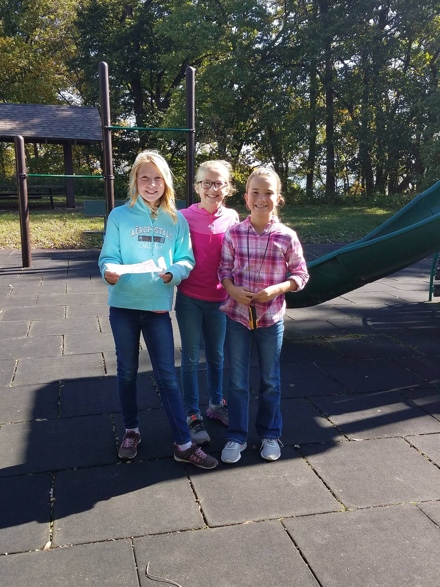 three girls on playground at PBIS Celebration/DNR Day -  Fall 2017