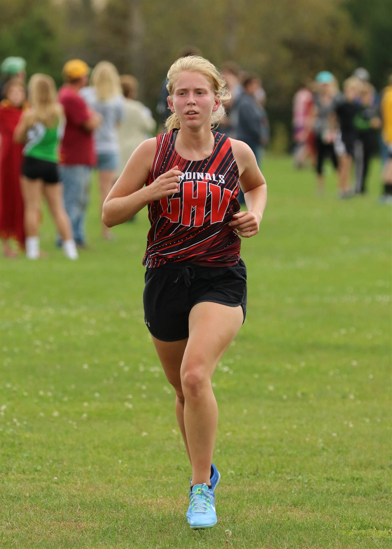 GHV High School girls cross country runner competing