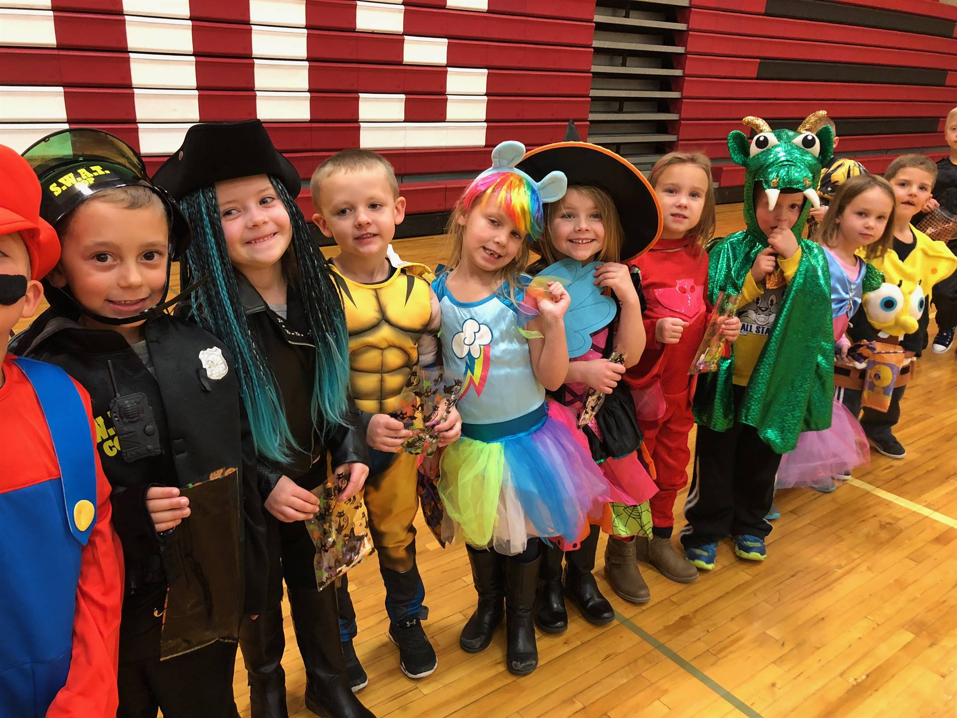 Elementary students dressed in costume