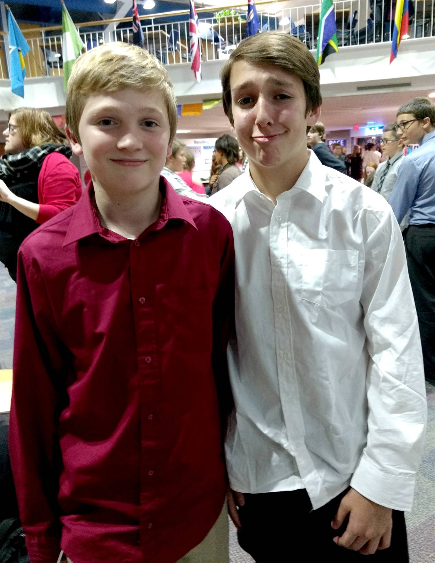 Two boys getting ready to participate in the North Central Iowa ICDA Honor Choir