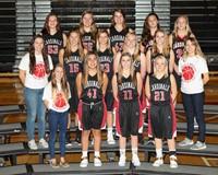 GHV Girls Basketball Team standing on bleachers
