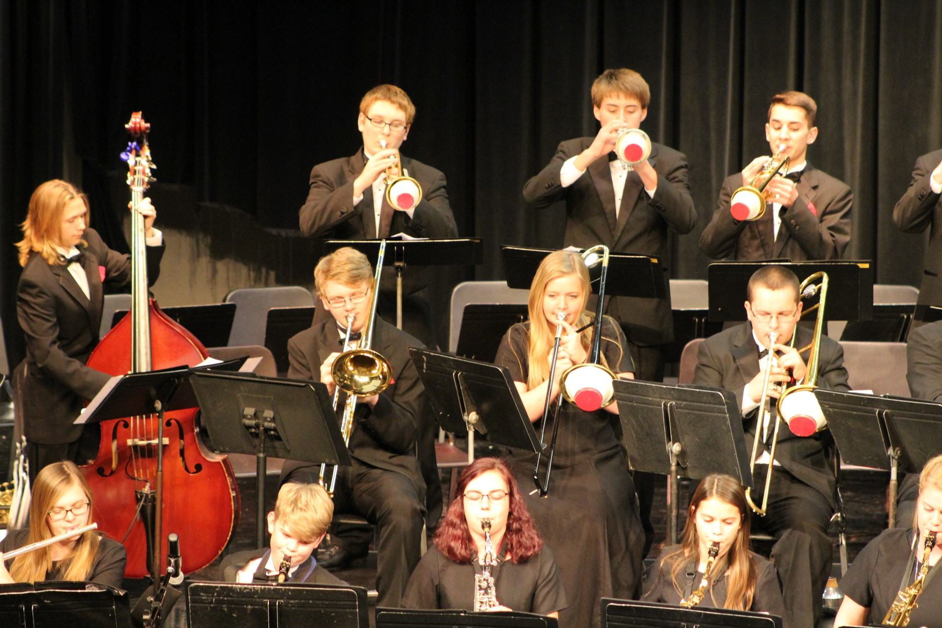 High school jazz band playing on stage