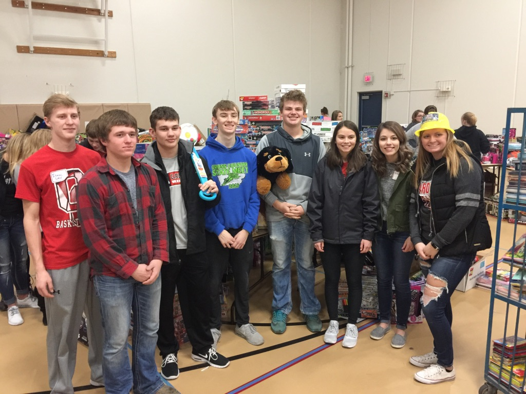 Student council members posing for a photo at Salvation Army Toys for Tots