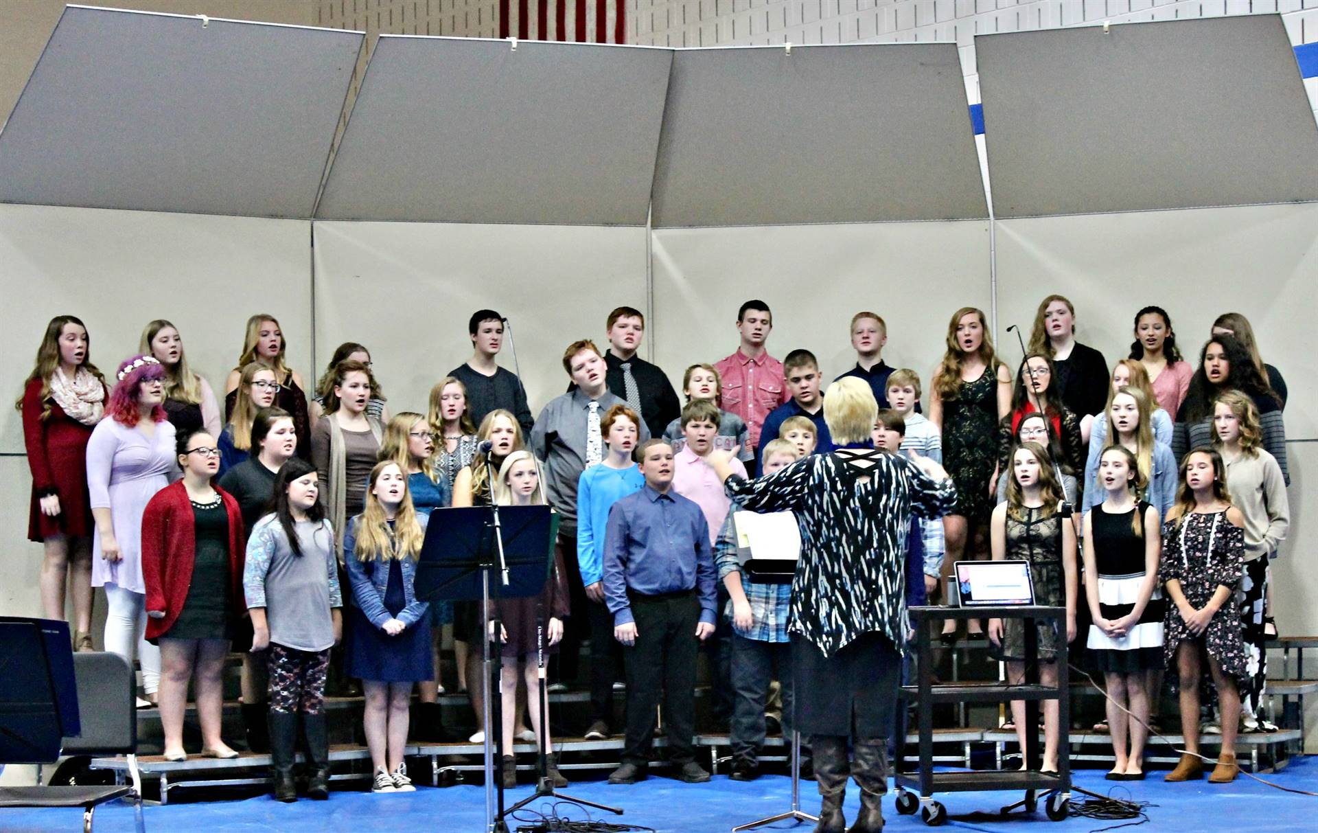 Junior high students performing during a vocal concert