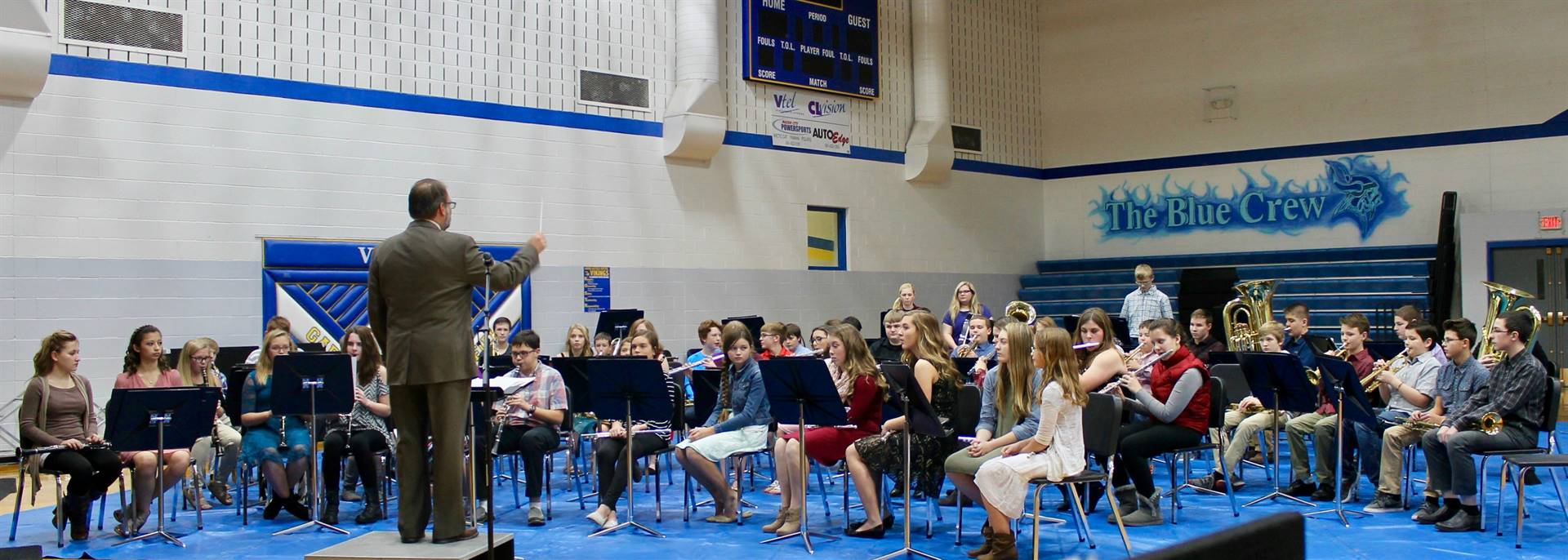 Junior high students performing during a band concert
