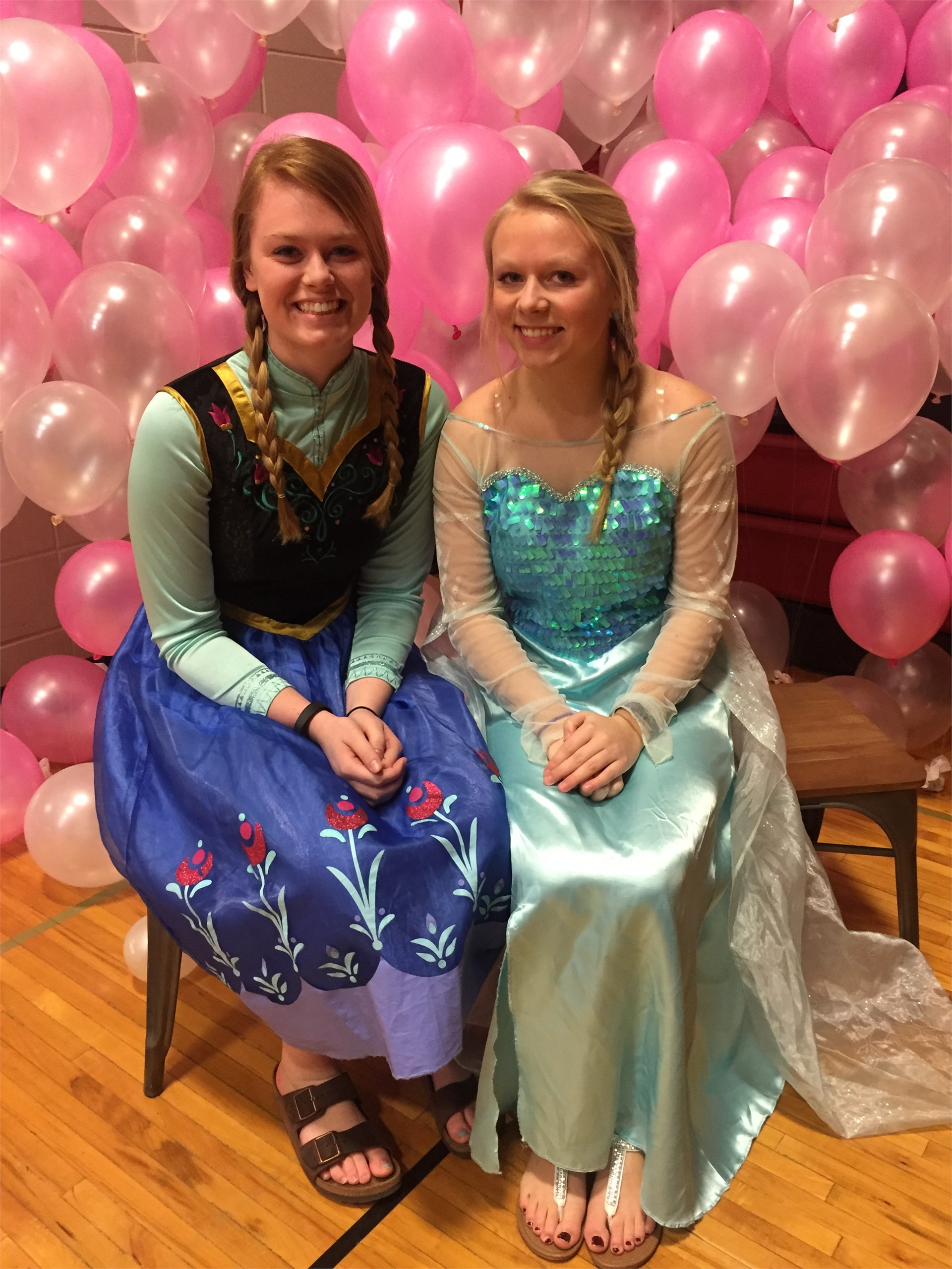 Anna & Elsa at the Elementary Dad-n-Daughter Dance