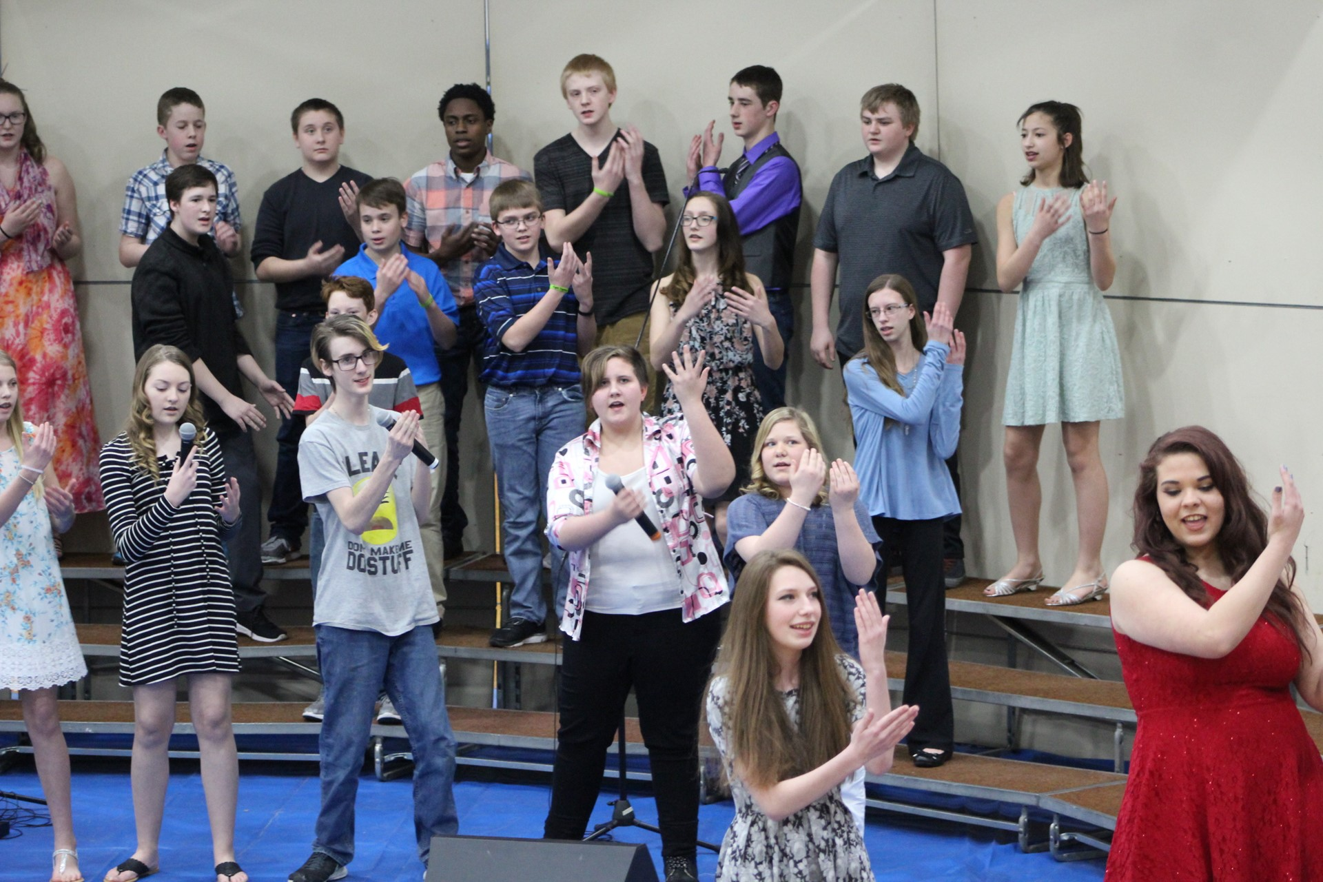 Students singing at vocal concert