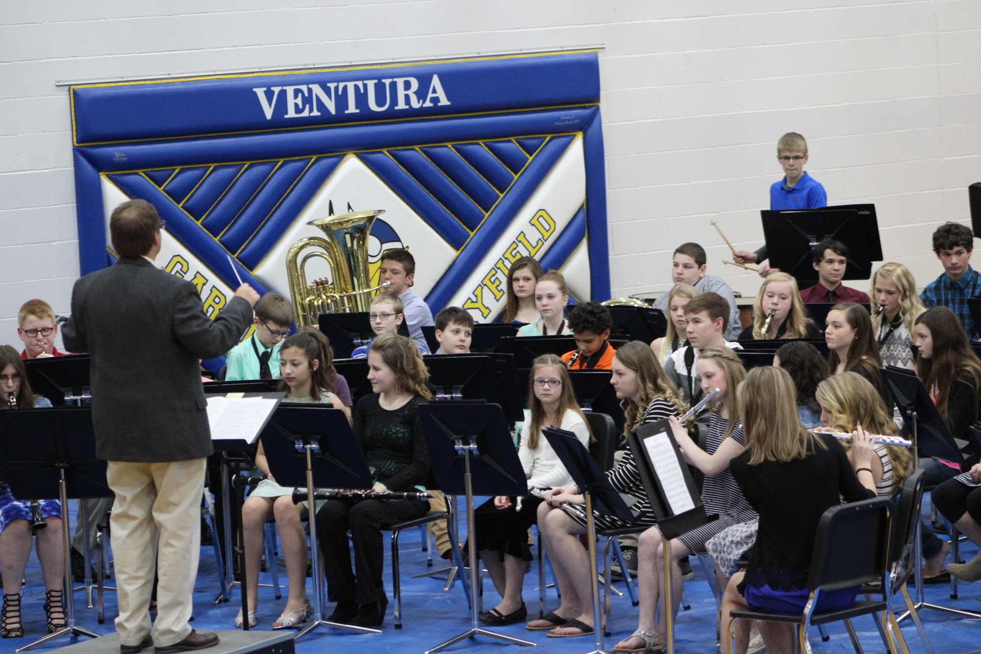 Students playing at band concert