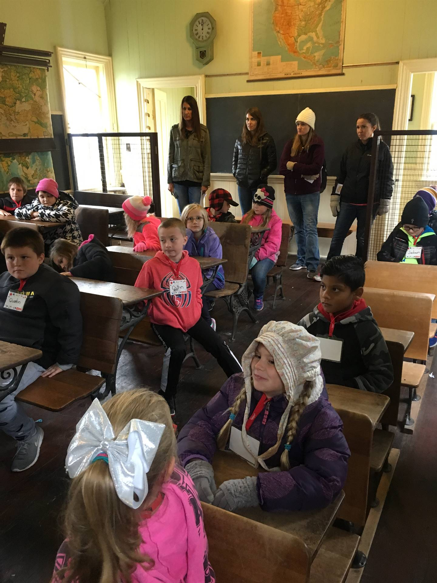 Second grade students in a one-room schoolhouse