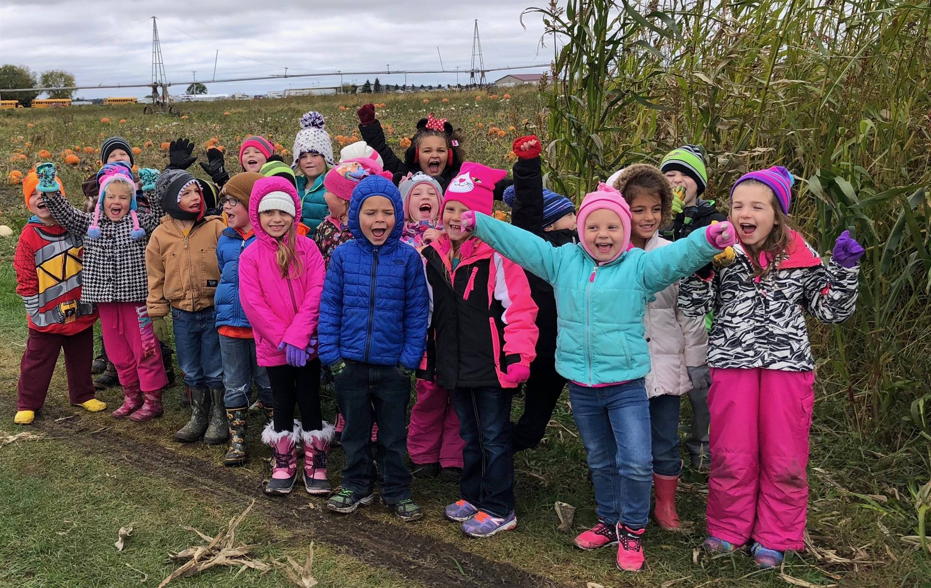 kindergarten students by a cornfield with hands raised in victory
