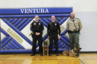 Officer Francis, Turbo the K-9, Chief Dodge, Mach the K-9 and Deputy Klein at GHV junior high