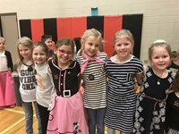 Elementary students dressed in 50's clothing