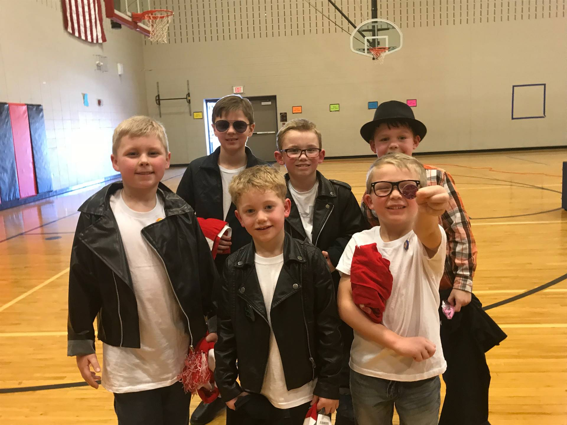 Elementary students dressed in 1950's clothing