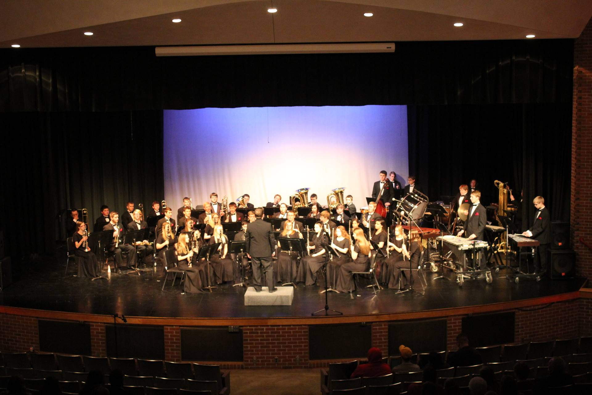 High school concert band on stage