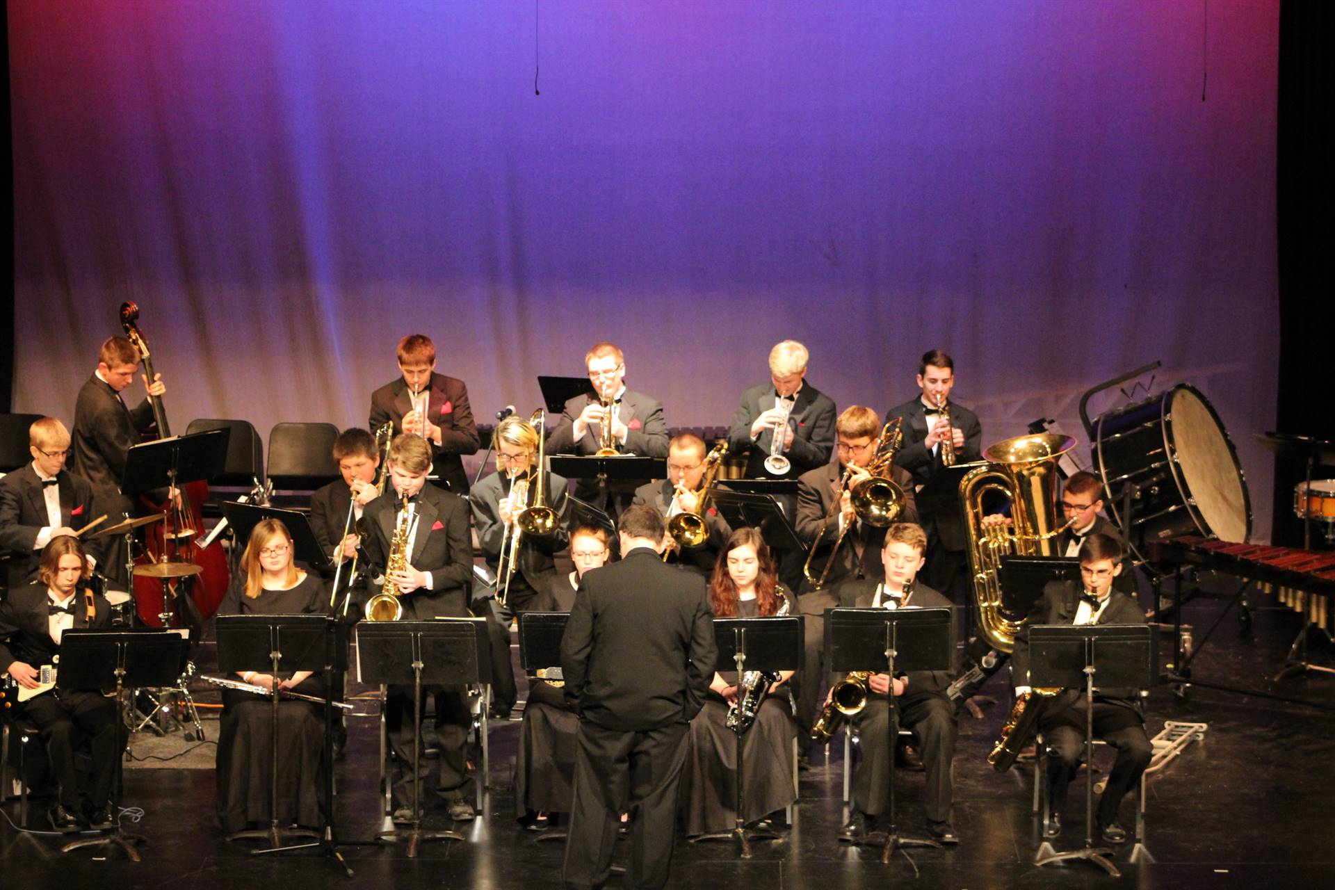 High school jazz band on stage
