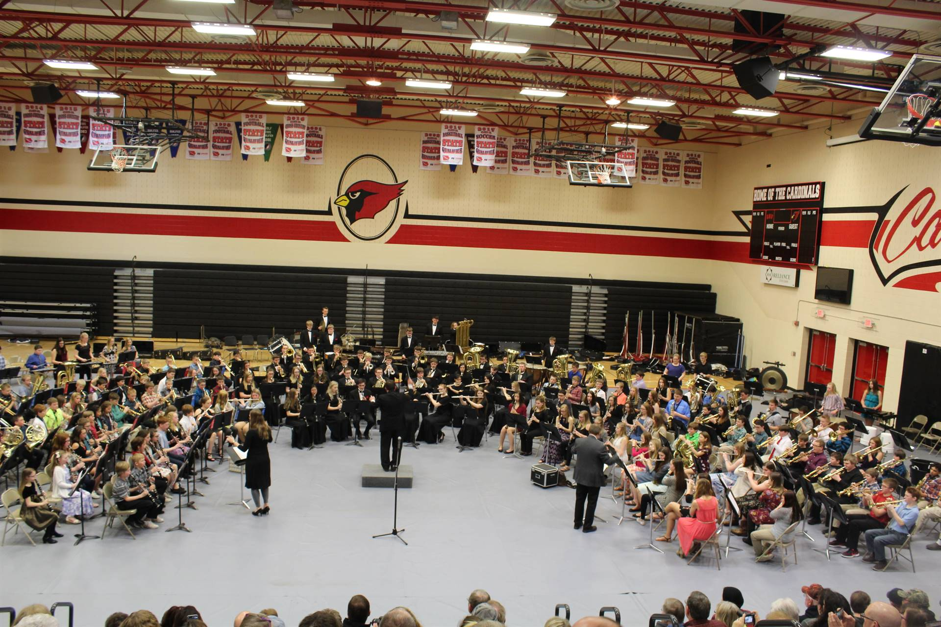 5th through 12th grade students assembled as one concert band