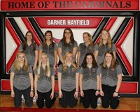Girls golf team posing for a group picture in the gym