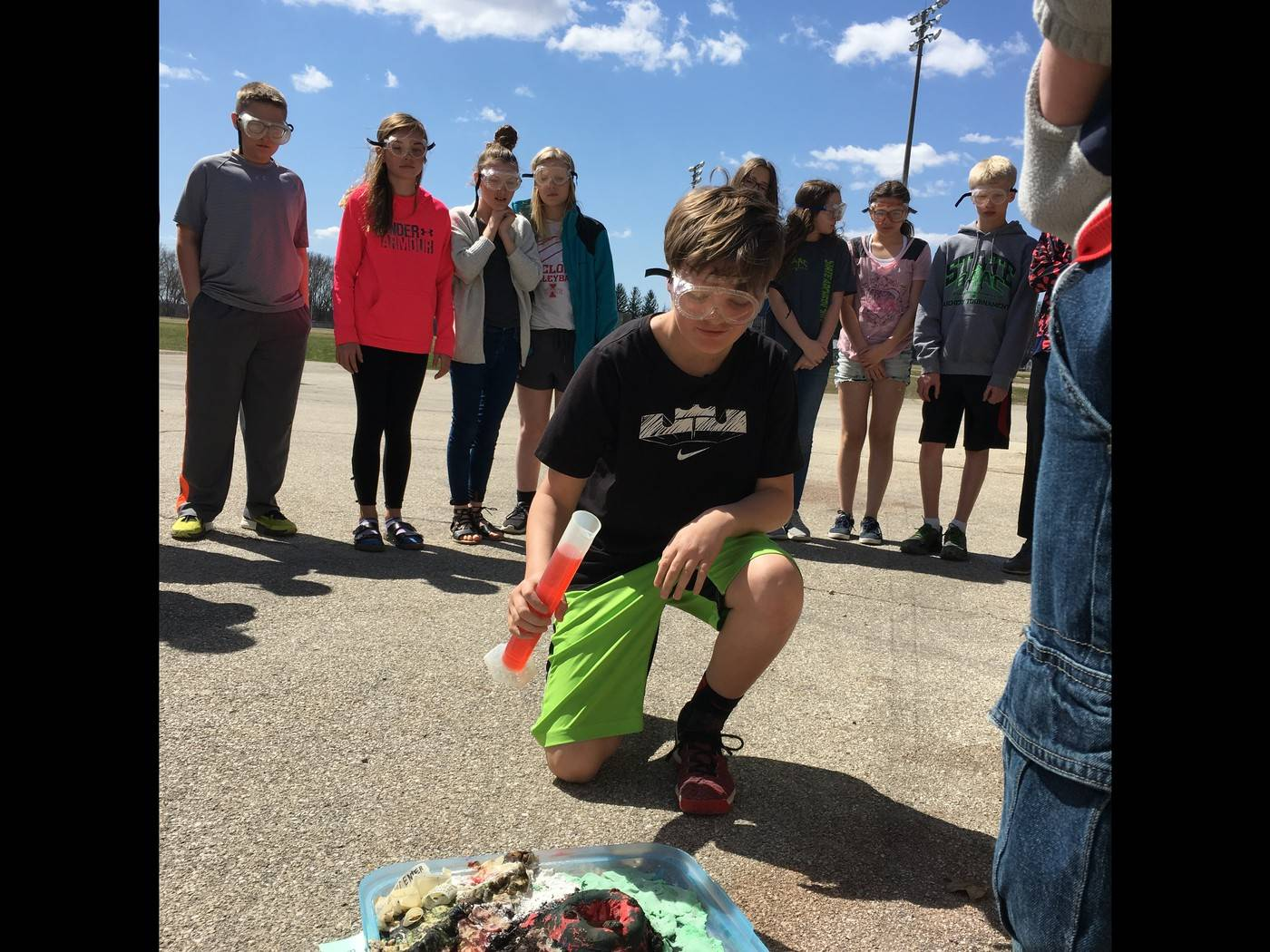 Students conducting an experiment outside