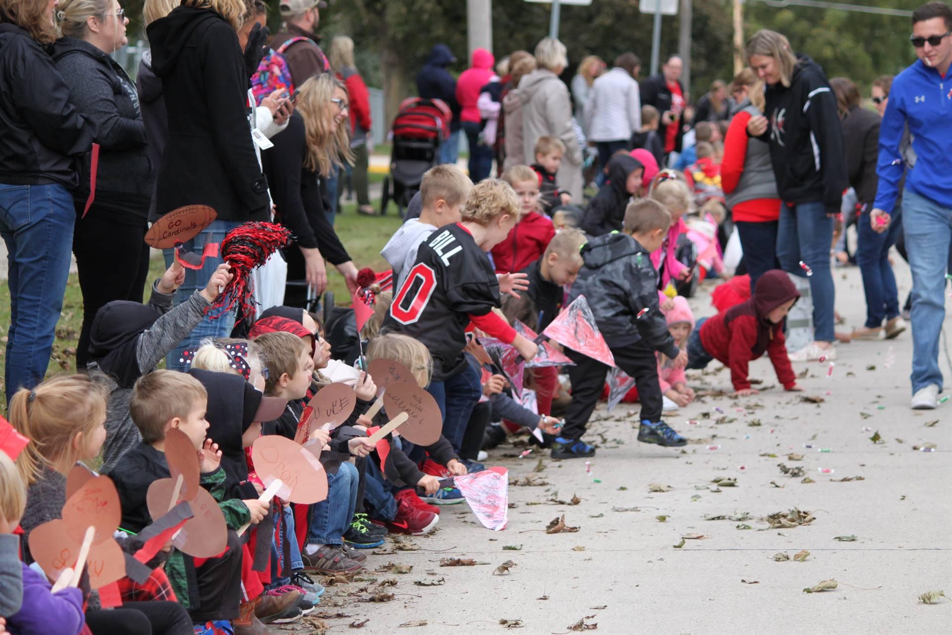 Students watching parade