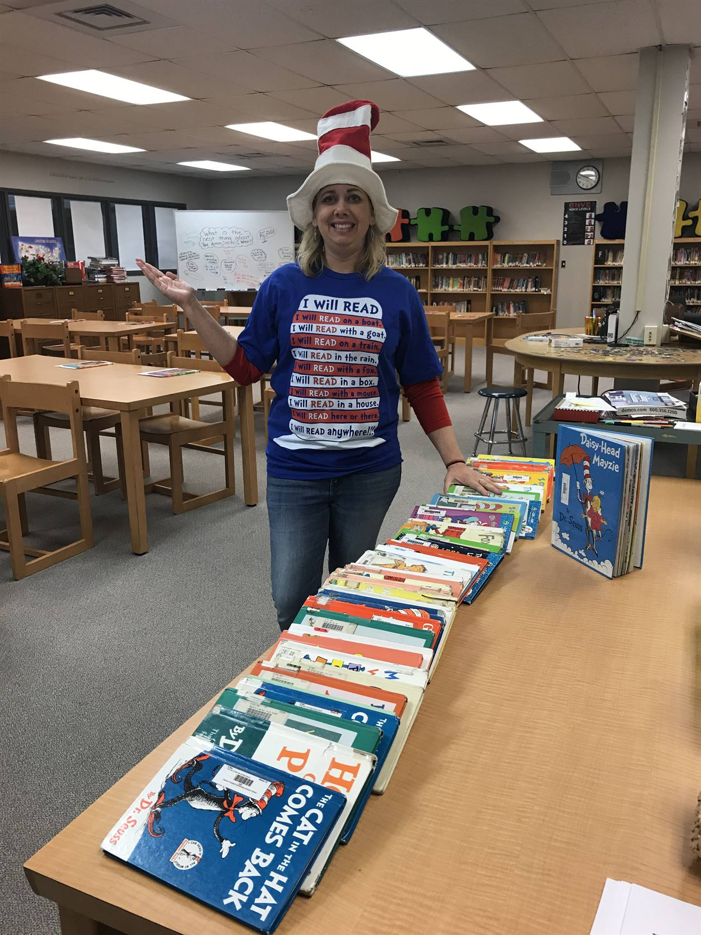 Teacher wearing Dr. Suess attire for Read Across America Week