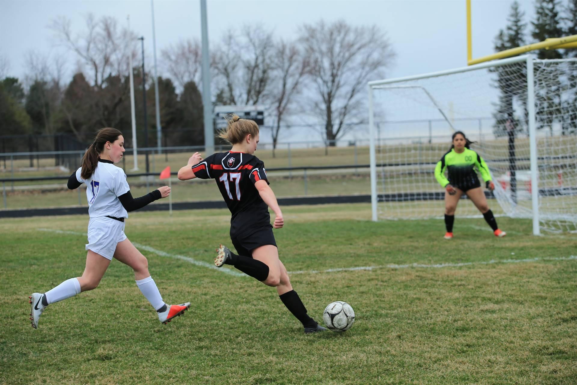 soccer player taking a shot on goal