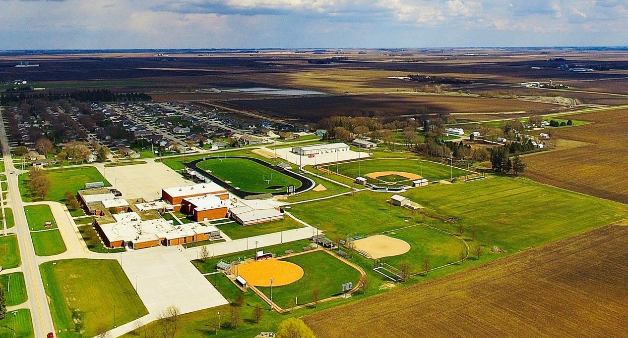 aerial shot of high school campus during the day