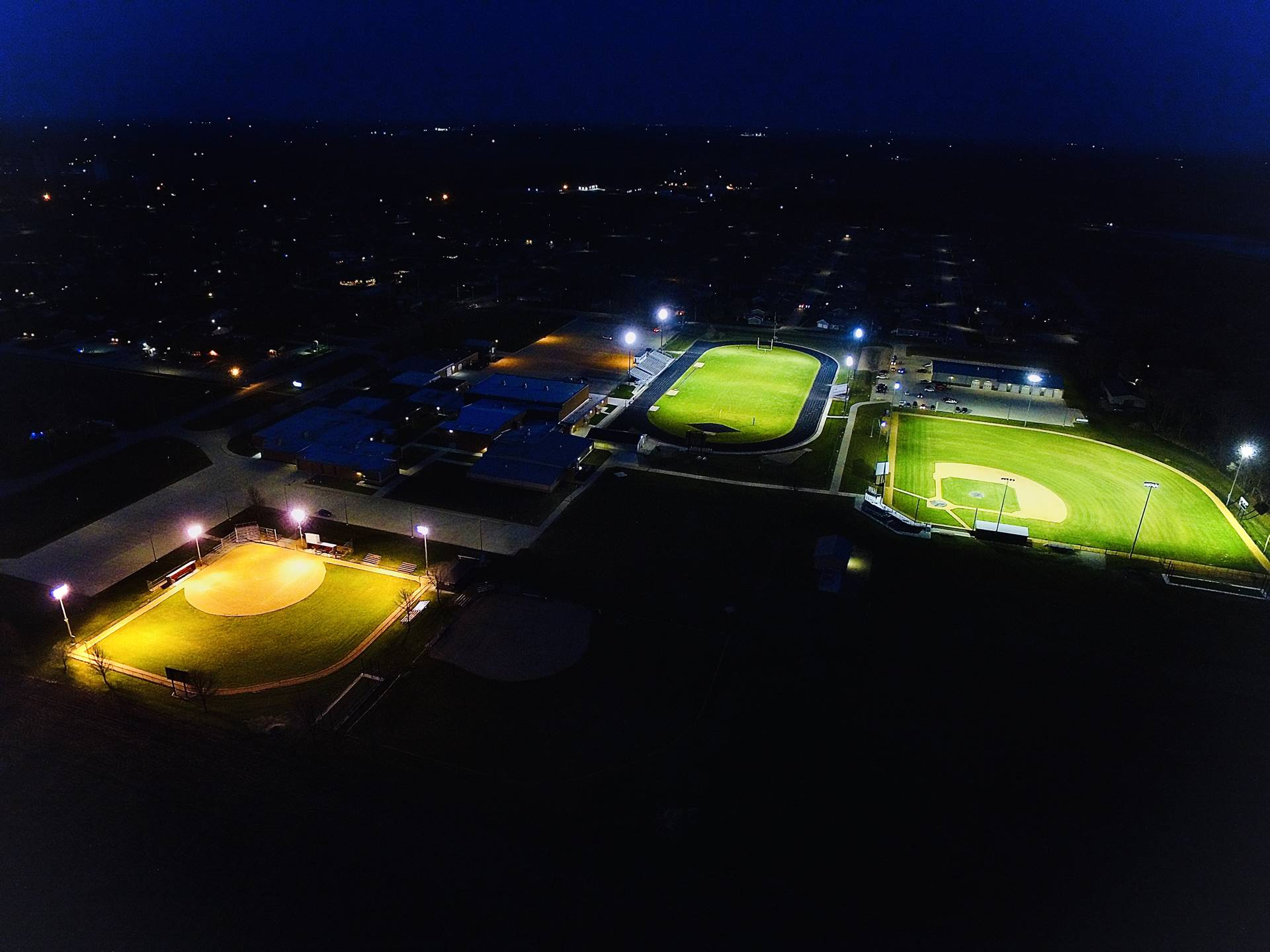 aerial evening photo of high school campus