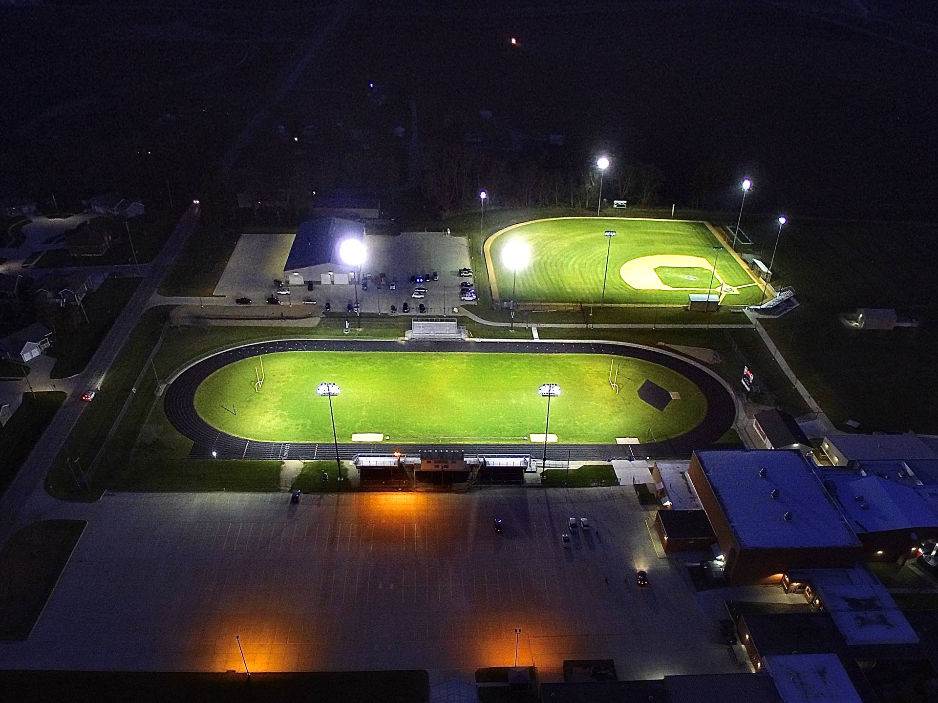aerial evening photo of high school campus