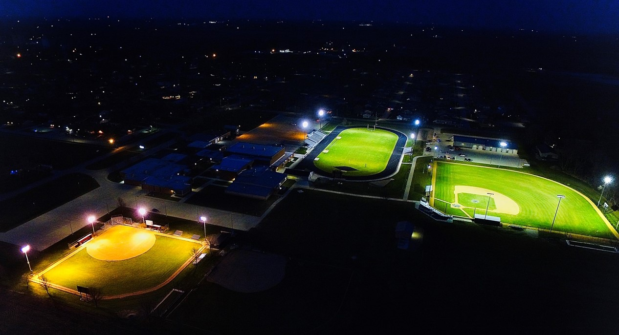 evening aerial photo of high school campus