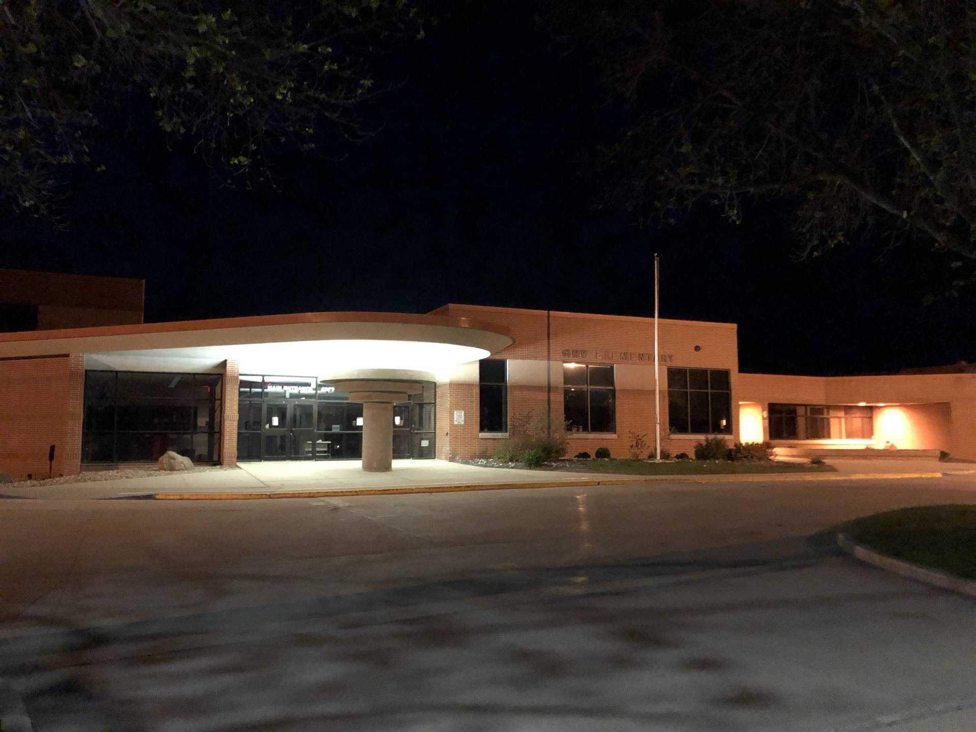 Preschool to 8th grade building at night