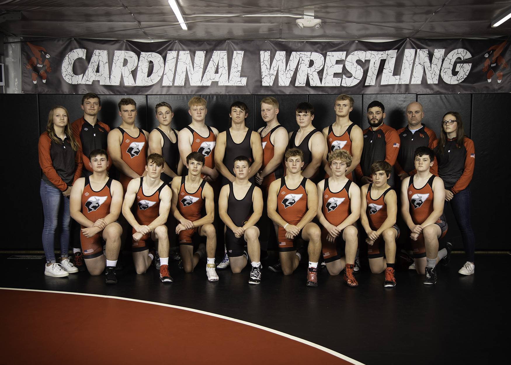 Wrestling team posing for a photo