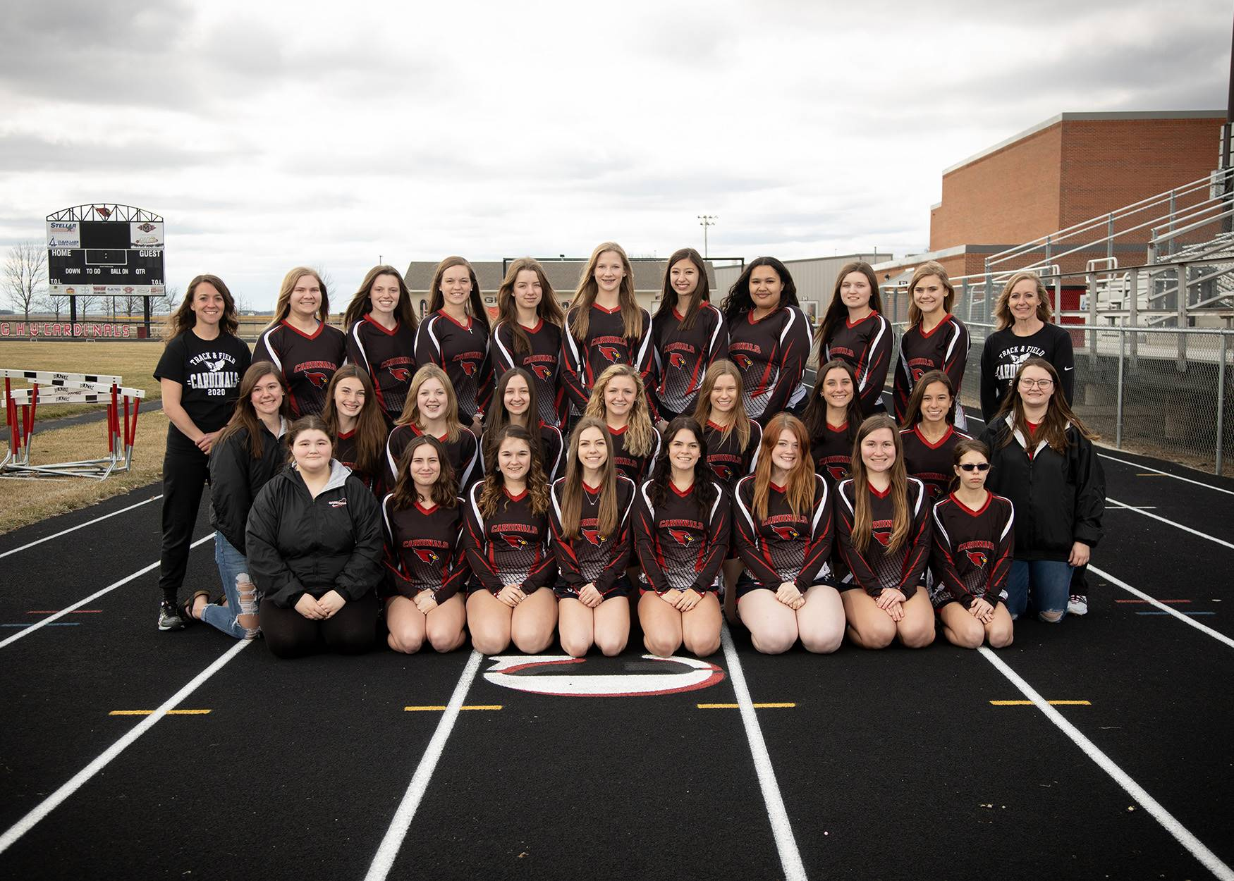 Girls Track team posing for a photo
